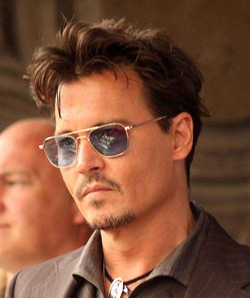Johnny Depp short brown spikey hair