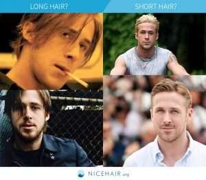 Ryan Gosling with long hair or short hair