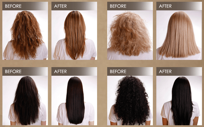 Hair keratin treatment before and after