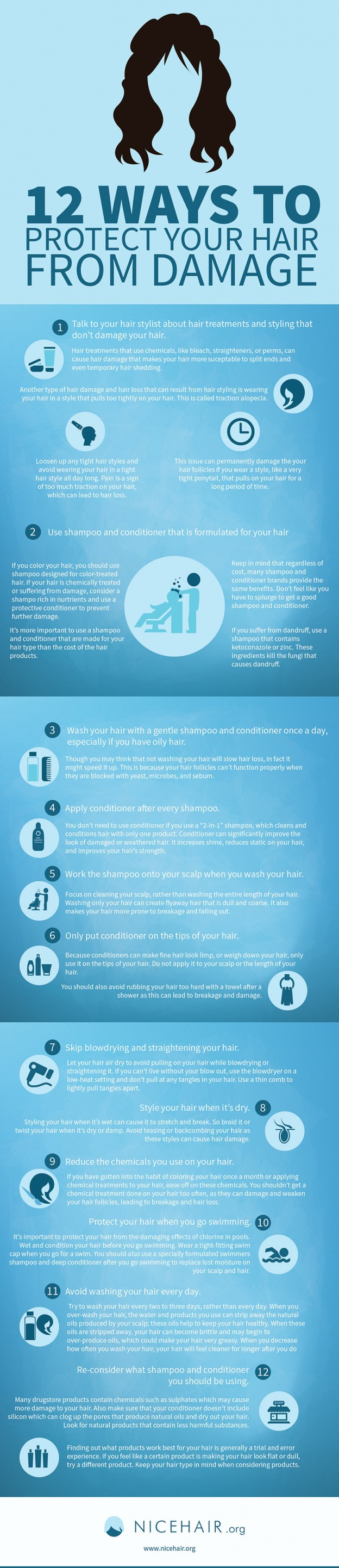 12 Ways To Protect Your Hair From Damage infographic