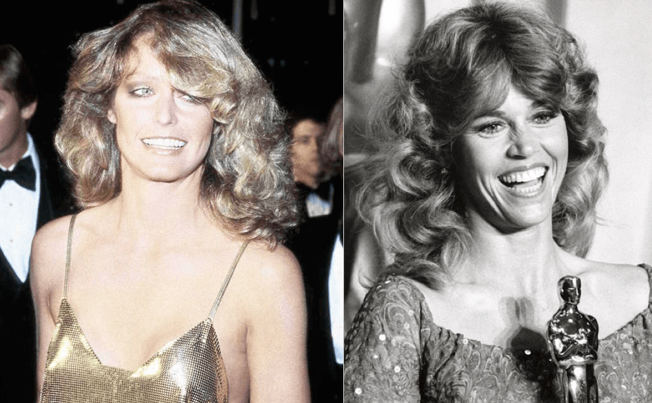 Farrah Fawcett and Jane Fonda wearing the iconic 70s feathered cut hair