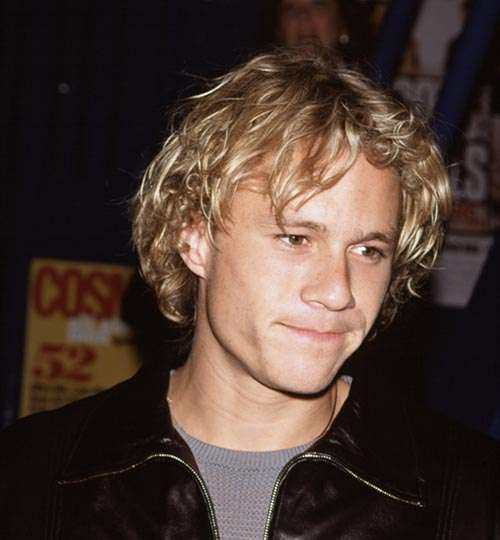 Heath Ledger long curly wavy blonde hair young