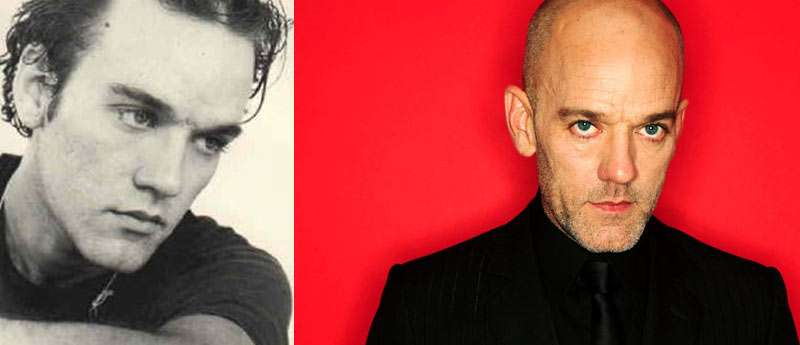 Michael Stipe with hair and without hair