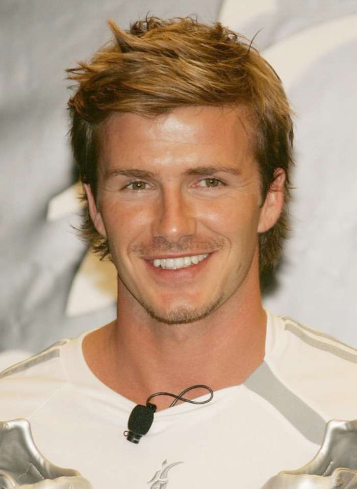 David Beckham short blond spiky side parting