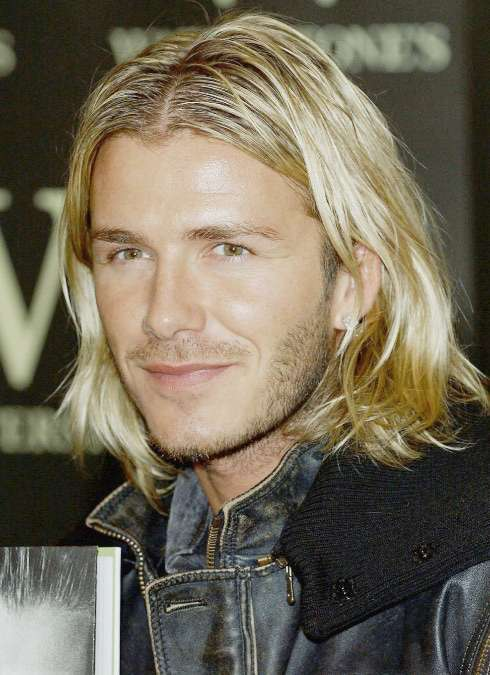 David Beckham with long blond hair