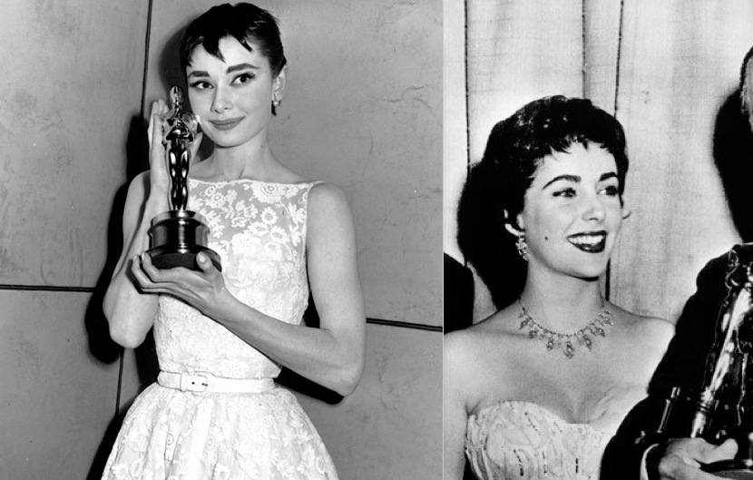 Audrey Hepburn and Elizabeth Taylor at Academy Awards