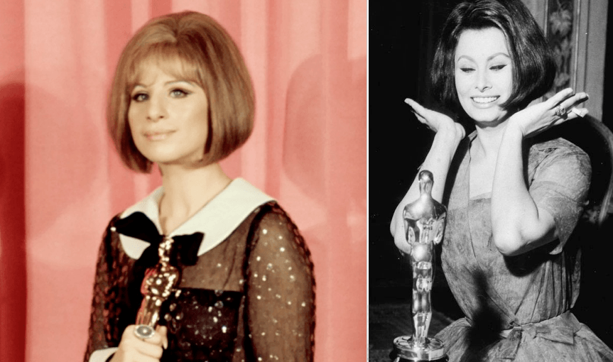 Barbara Streisand and Sophia Loren Bob hairdos at Oscars