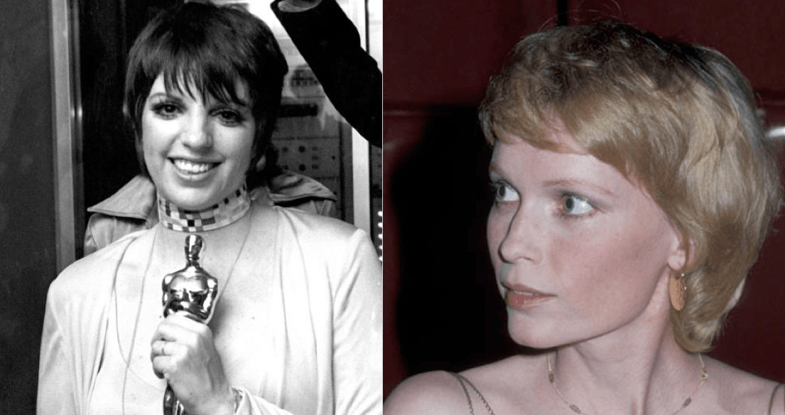 Liza Minnelli Twiggy style hair and Mia Farrow's long pixie cut