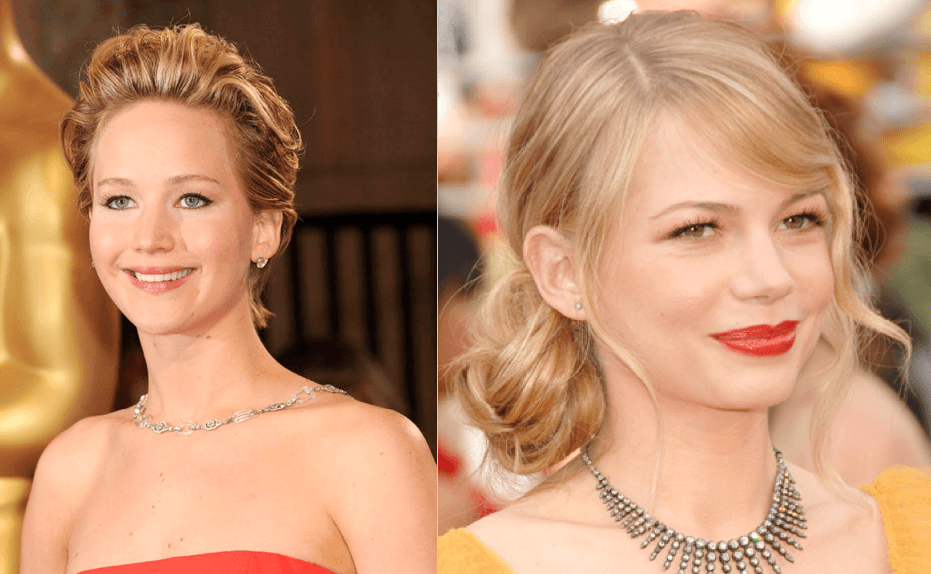 Michelle Williams and Jennifer Lawrence updos